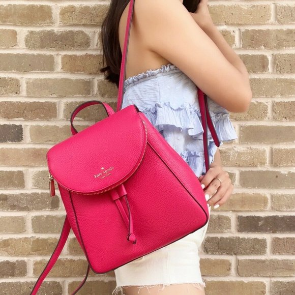 NWT Kate Spade Backpack Hot Pink Pebbled Leather